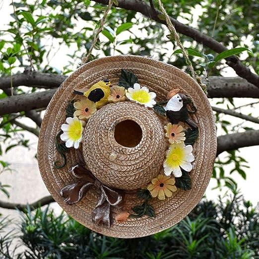 Jardín Al Aire Libre Sombrero De Paja Decoración Nido De Pájaro Paisaje Adornos De Pared Para Villa Patio Terraza Balcón Decoración De Jardín De Infantes: Amazon.es: Hogar