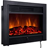 "Giantex 28.5"" Electric Fireplace Insert with Heater Glass View Log Flame with Remote Control Home"