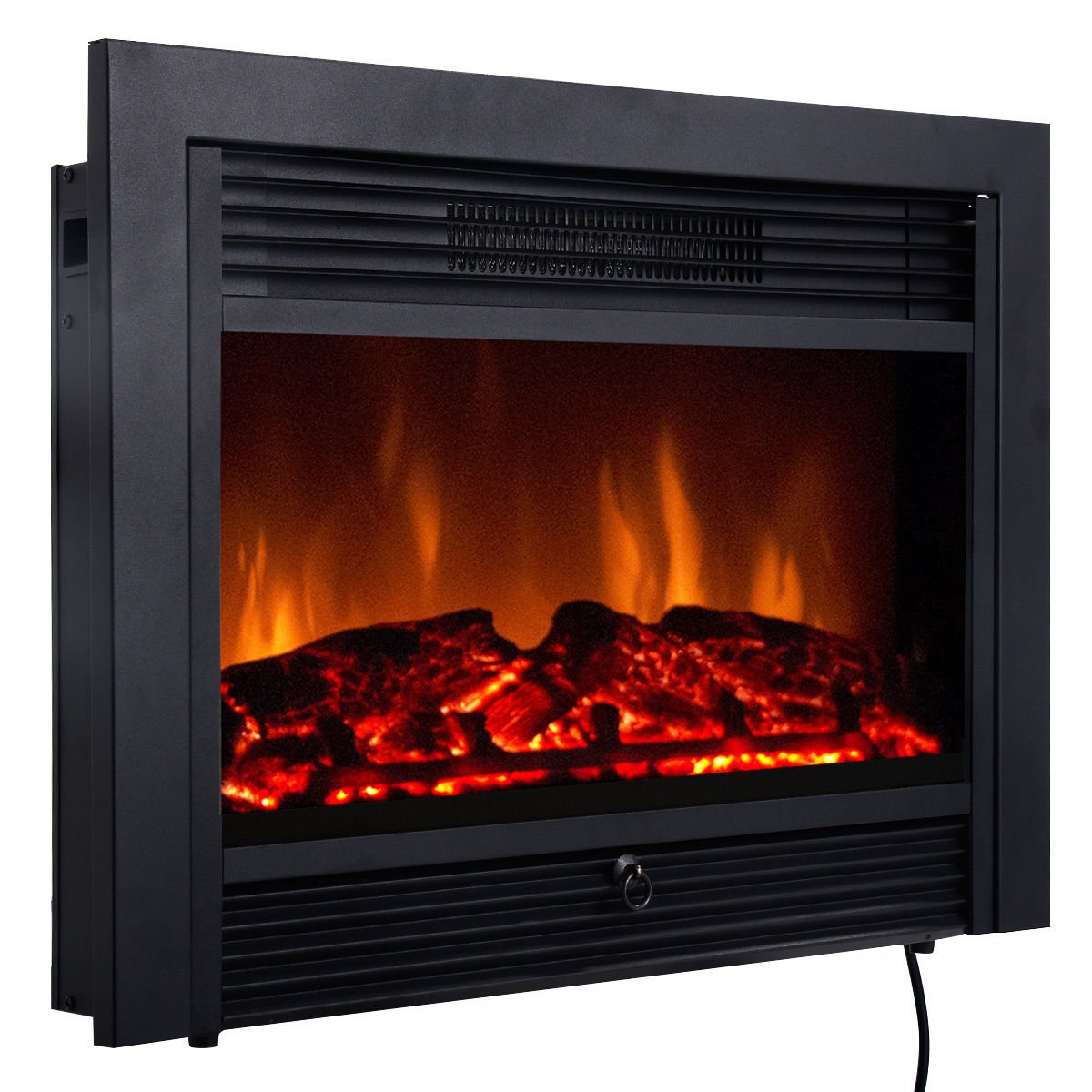 Giantex 28.5'' Electric Fireplace Insert with Heater Glass View Log Flame with Remote Control Home by Giantex