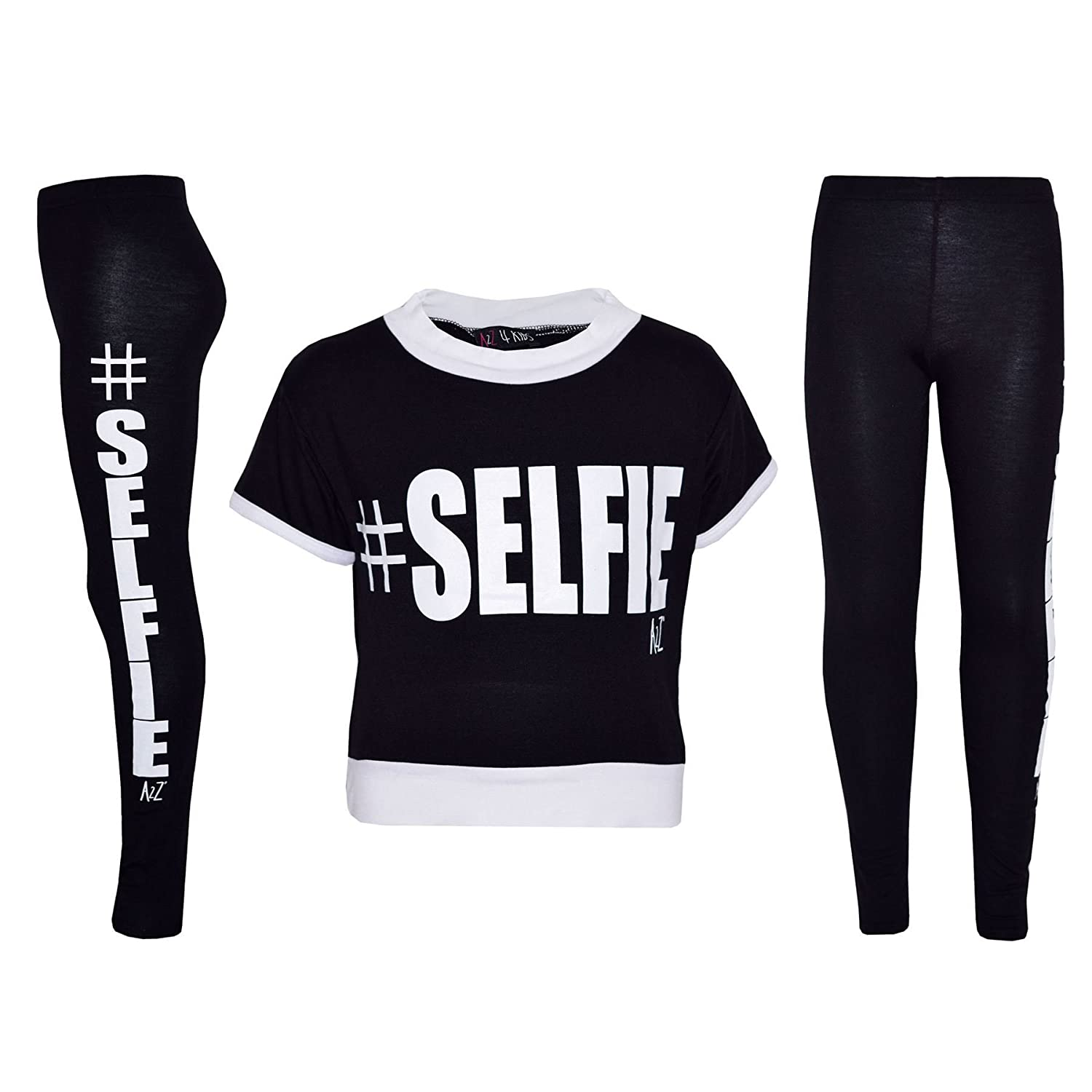 44fe6cc86dfb7 Available Color; Black, Neon Pink & Royal Blue. A2Z 4 Kids® Girls Top Kids  Designer #Selfie Print Crop Top & Fashion Legging Set.