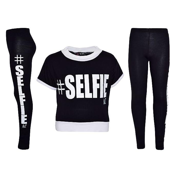 f71ae964b2 Girls Top Kids #Selfie Print Designer T Shirt Top & Fashion Legging Set Age  7