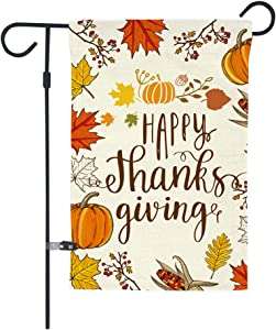 GOAUS Happy Thanksgiving Garden Flag,Fall Maple Leaf Leaves Pumpkin Farm Harvest,Double Sided Burlap Decorative House Flags for Home Lawn Yard Indoor Outdoor Decor,12 x 18 Inch