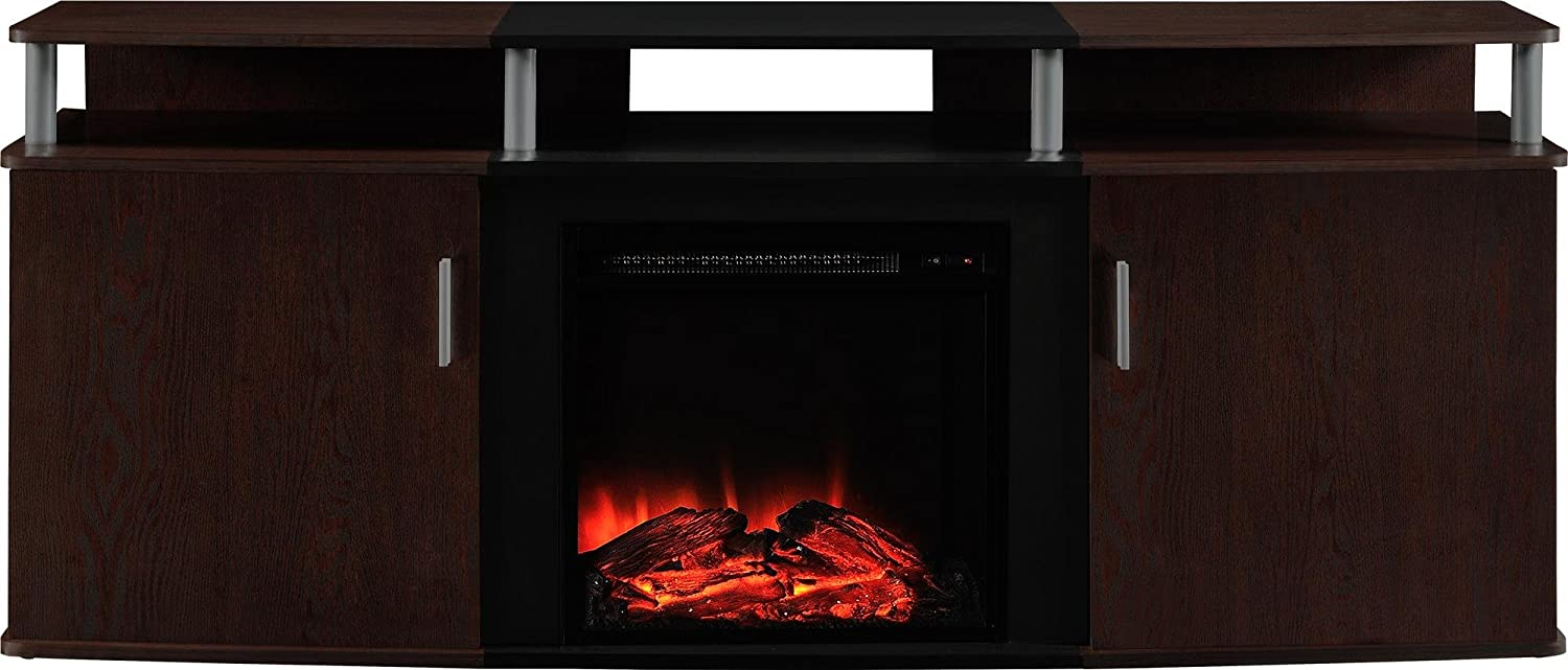 Ameriwood Home Carson Electric Fireplace Tv Console For Tvs Up To 70 Cherry Furniture Decor Amazon Com