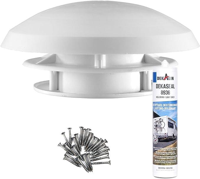 Techo Ventilador Caravana 20 cm Blanco Techo grosor 20 – 45 mm orificio 90 mm insecto rejilla + deklain Dich Medio + Tornillos: Amazon.es: Coche y moto