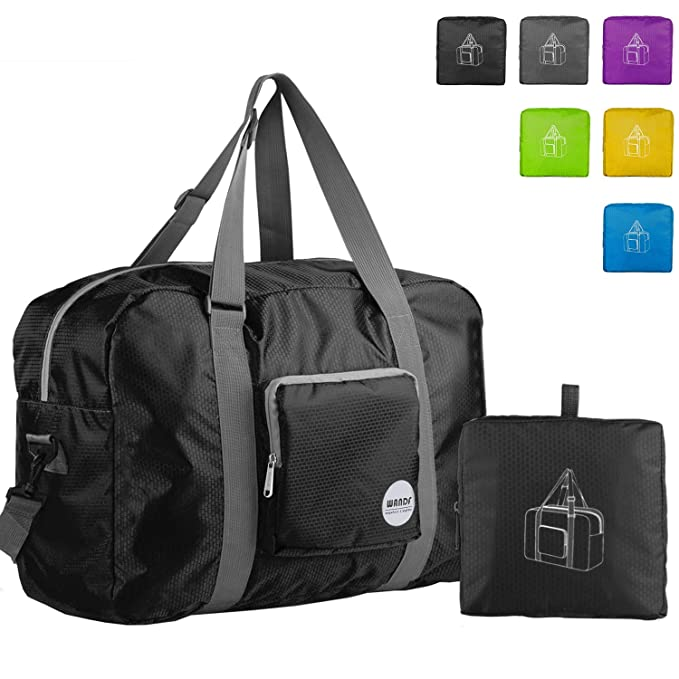 Wandf Foldable Travel Duffel Bag Luggage Sports Gym Water Resistant Nylon,  Black a5c1af4d83