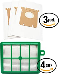 9 Replacement S-Bag Classic Vacuum Bags & 4 EL012B Filter for Electrolux, Eureka - Compatible with Electrolux EL7063A, Electrolux EL4103A, Electrolux EL6986A, Electrolux EL7062A, Electrolux EL4040A, Electrolux EL7060A, Electrolux EL6988E Oxygen, Electrolux EL4100A, Electrolux EL4200A