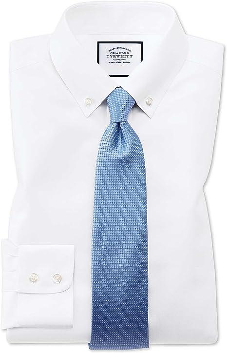 Camisa sin Plancha Blanca de Sarga Slim fit con Cuello con Botones: Amazon.es: Ropa y accesorios