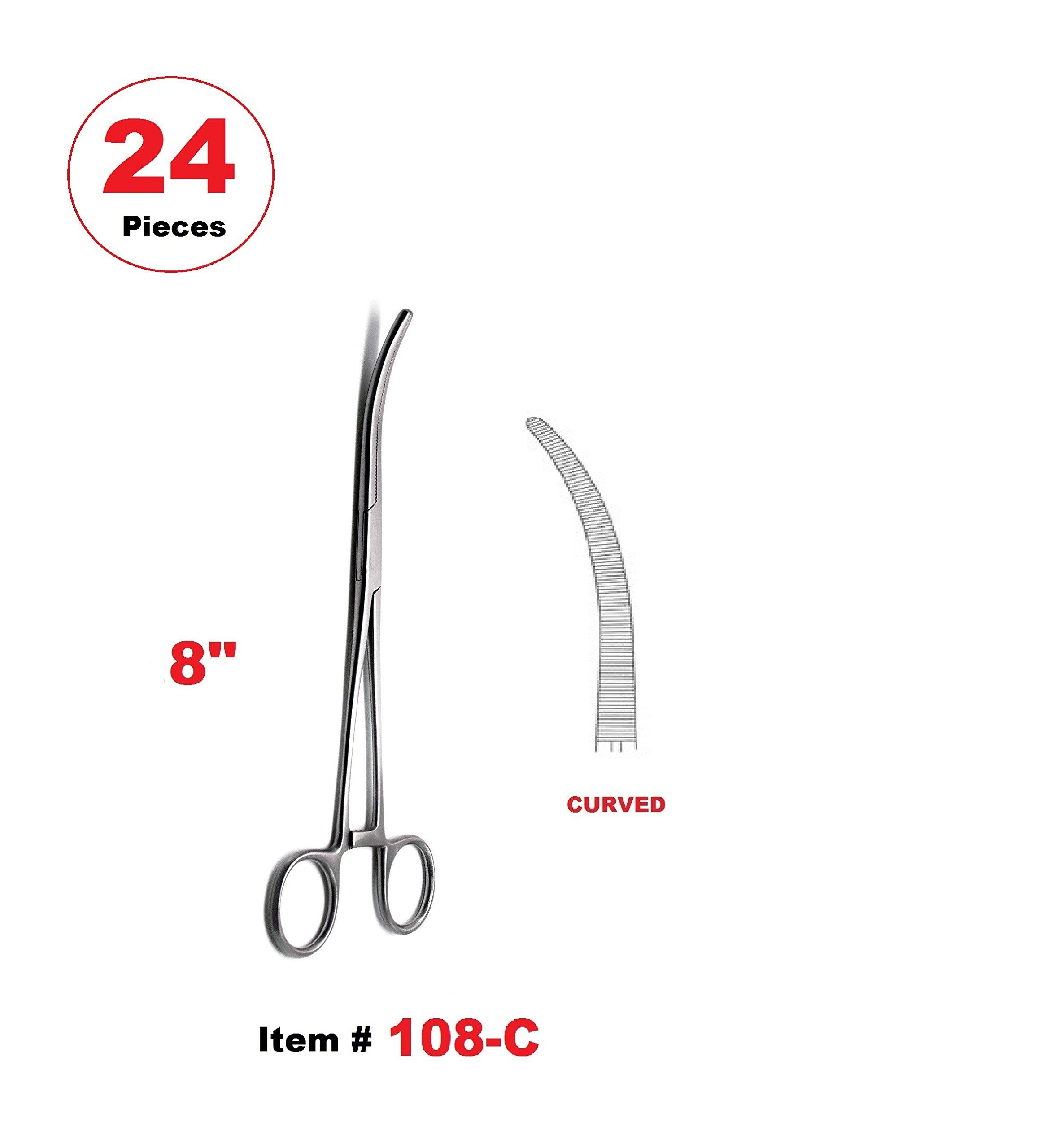 24 Pcs 8'' Pean Hemostat Locking Forceps Curved