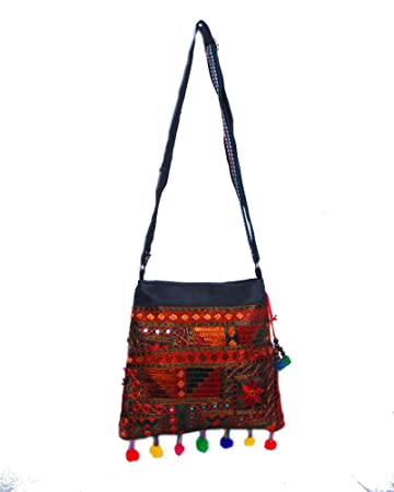 33e681856f Buy Golesoof Mirror work pompom d.s sling bag Online at Low Prices in India  - Amazon.in