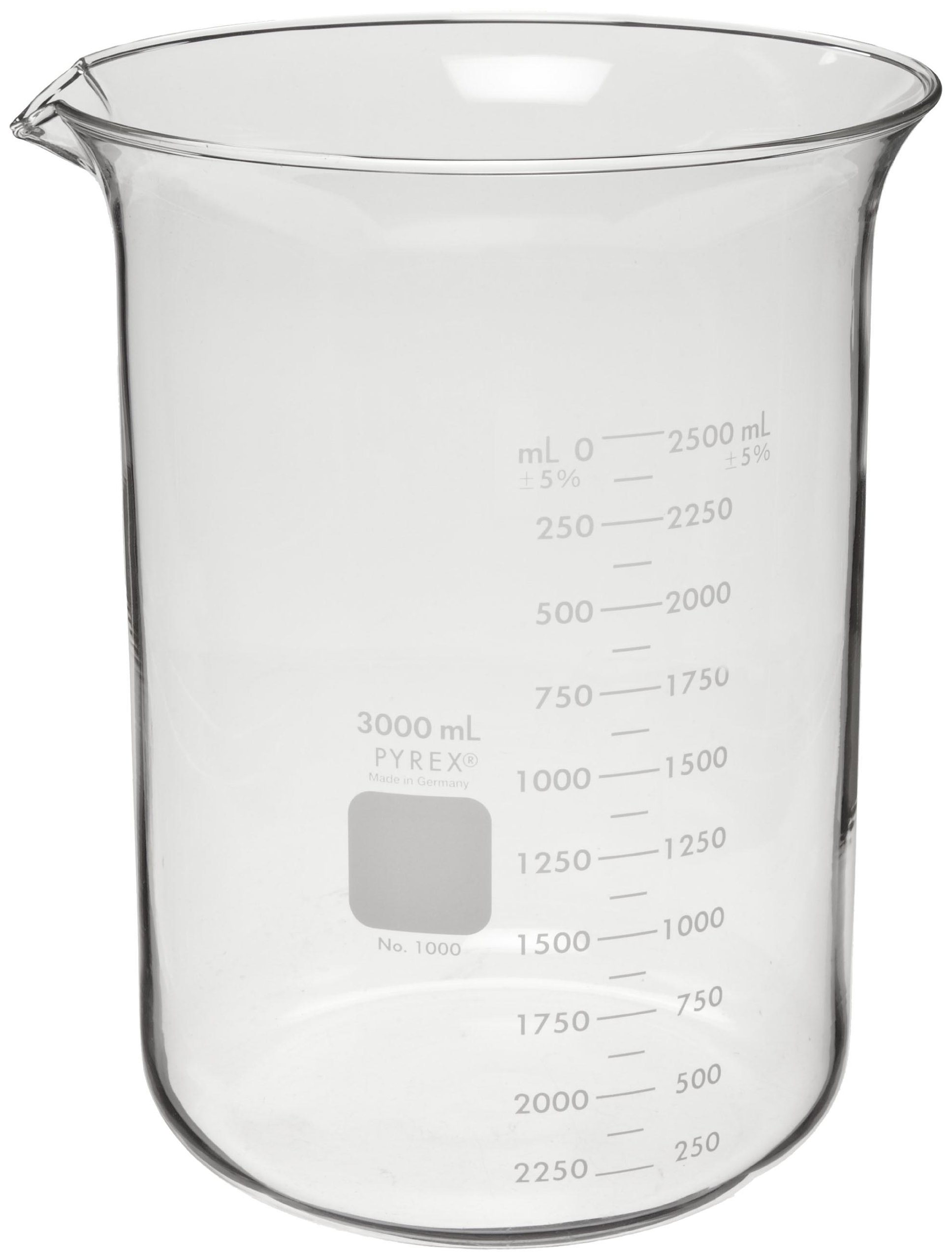 Corning Pyrex 1000-3L Glass 3 Liter Graduated Low Form Griffin Beaker, 125mL Graduation Interval, with Double Scale