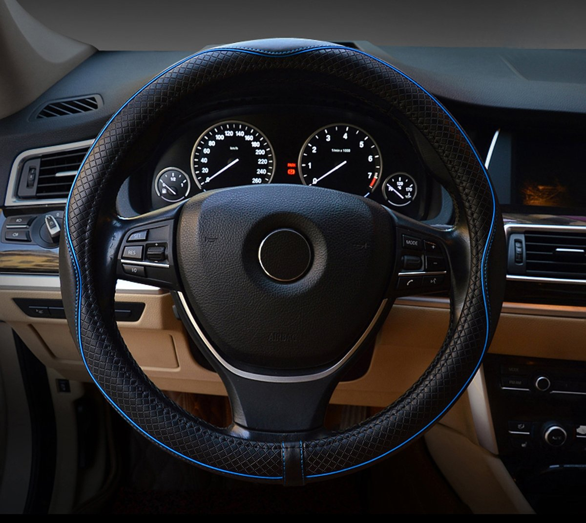 Leather Steering Wheel Cover Nice Grip Very Soft and Comfortable Universal 15 Inch -Fit is Nice and Snug (Black&Blue)