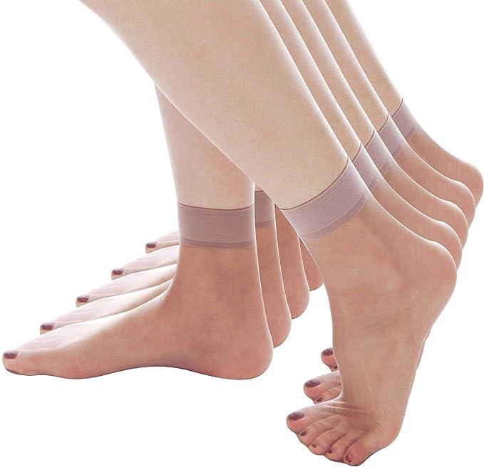5Pairs Women Nylon Elastic Short Ankle Sheer Stocking Silk Short Socks Pure S!