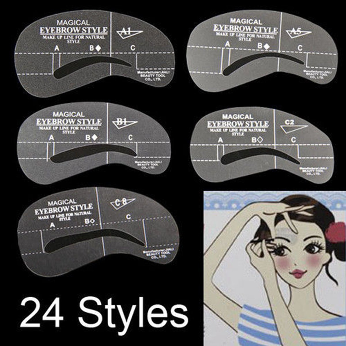 24Styles Eyebrow Grooming Stencil Kit Template Shaping Shaper DIY Tools by JASSINS (Image #1)