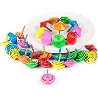 Comius Juego de peonzas, Lote de 30 Peonzas de Madera de Colores - Regalos y Detalles para Comuniones, Niños, Niñas, Fiestas de Cumpleaños