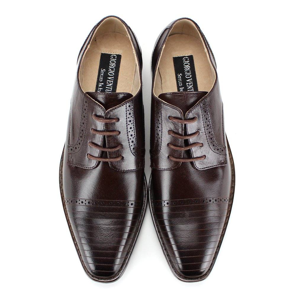 Giorgio Venturi 2520 ~ Mens Leather Dress Shoes with Pinstripes Lines on Toe