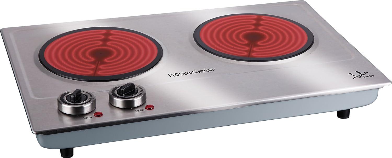 Jata V532 Cocina Eléctrica Vitrocerámica 2 Fuegos con Dos Placas de 18 cm Cuerpo de Acero Inoxidable 2 Termostatos Regulables de Temperatura 2400 W: Amazon.es: Hogar