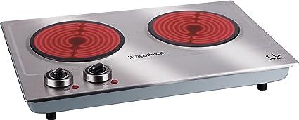 Jata V532 Cocina Eléctrica Vitrocerámica 2 Fuegos con Dos Placas de 18 cm Cuerpo de Acero Inoxidable 2 Termostatos Regulables de Temperatura 2400 W