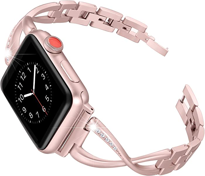 Secbolt Bands Compatible Apple Watch Band 42mm 44mm Iwatch Series 6/5/4/3/2/1 SE Women Dressy Jewelry Stainless Steel Accessories Wristband Strap, Rose Gold