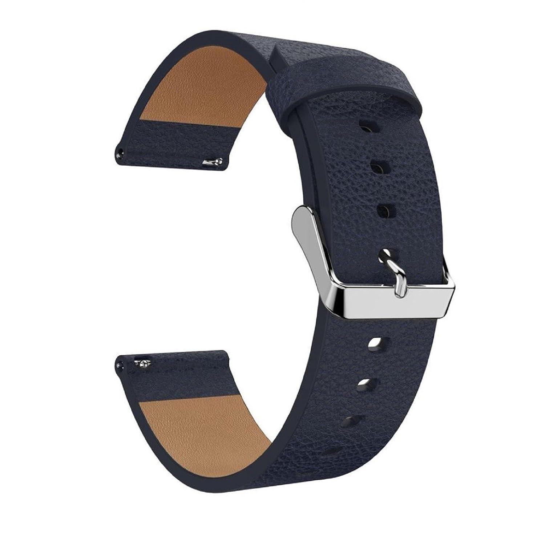 owill Litchiストライプレザーバンド交換用アクセサリーリストバンドウォッチバンドfor Fitbit Versa、手首サイズ130 mm-190 mm One Size OWMR2927BK ダークブルー ダークブルー B07BS5Y962