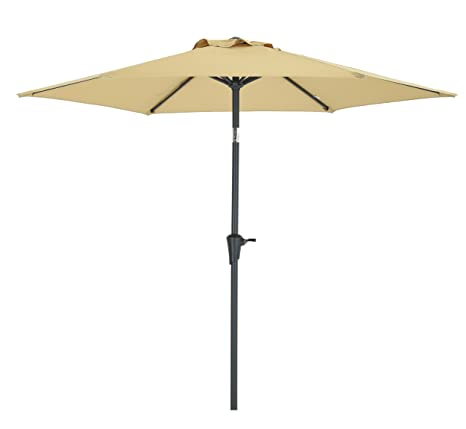 Captivating 7.5 Ft Patio Umbrella, Garden Umbrella 6 Ribs, Bistro Table Umbrella Push  Button Tilt