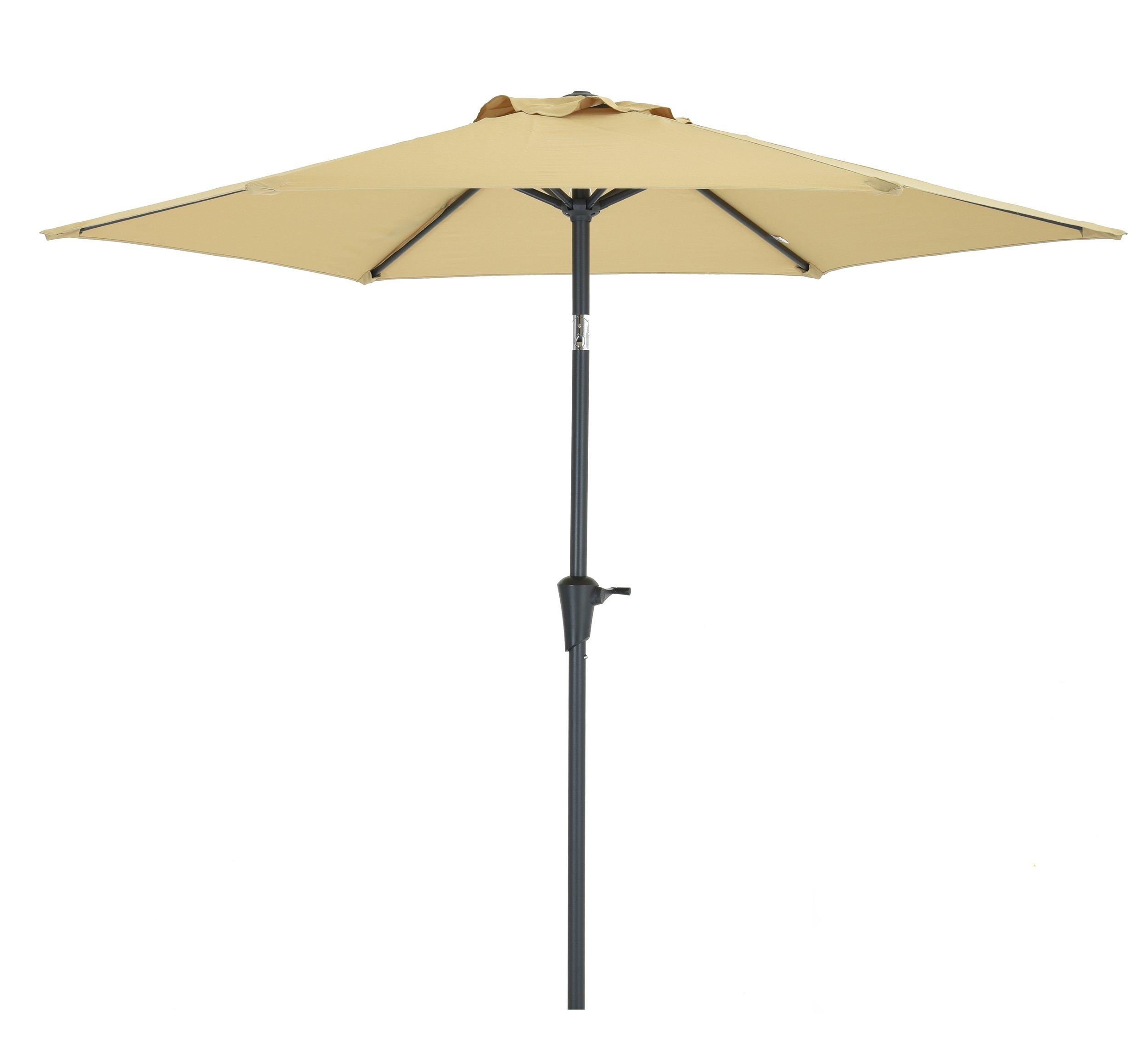 7.5 Ft Patio Umbrella, Garden Umbrella with 6 Ribs, Bistro Table Umbrella with Push Button Tilt and Crank,Beige