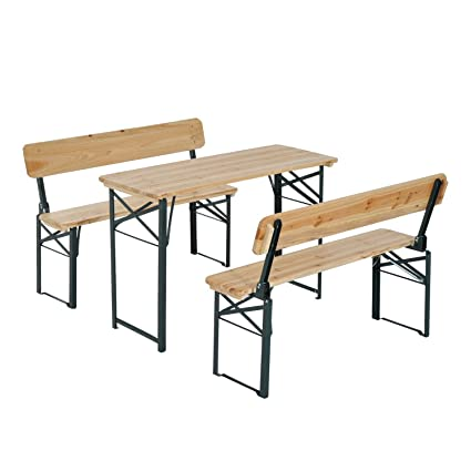 Amazoncom Outsunny Wooden Folding Picnic Table Set WBenches - Metal wood picnic table