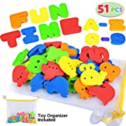 Joyin Toy 51 Pieces Educational Bath Letters, Numbers, Sealifes and Transportations Bath Toys with Toy Organizer