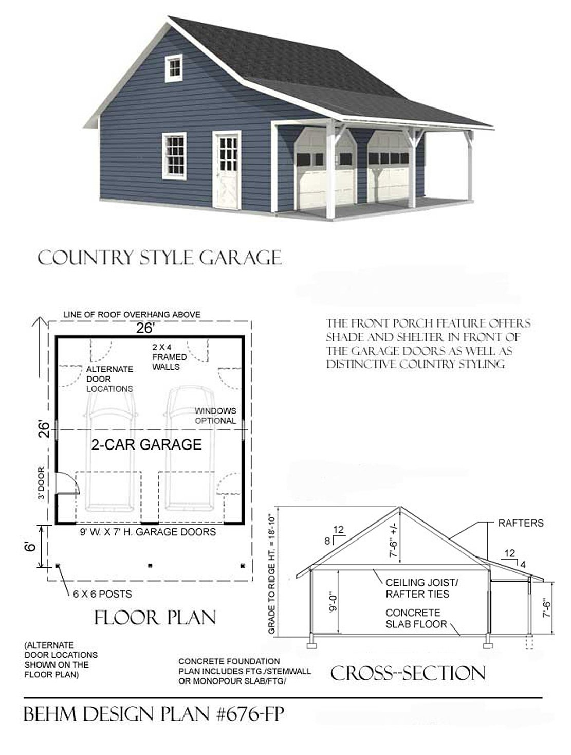 garage plans roomy 2 car garage plan with 6 ft front porch garage plans roomy 2 car garage plan with 6 ft front porch 676 fp 20 x 24 two car by behm design wall decor stickers amazon com
