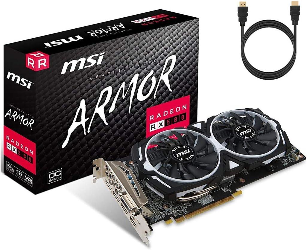 MSI Armor Gaming Radeon RX 580 Overclocked Dual Fan Graphics Card 8GB GDDR5 PCI Express 3.0 x16 DirectX 12 2 x HDMI 2 x DisplayPort 1 x Dual-Link DVI-D w/ Tigology HDMI Cable