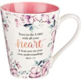 Trust In The Lord Proverbs Coffee Cup for Women - Inspirational Coffee Cup with Proverbs 3:5 Bible Verse in Plum Floral (13-O