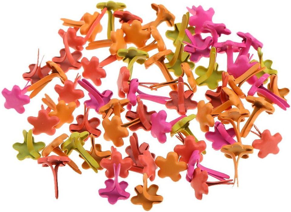 200pcs Flower Shape Mini Brads Round Head Metal Brads Crafts Split Pins Paper Fasteners for Multicolor Scrapbooking Stamping DIY Tool 7.5mm