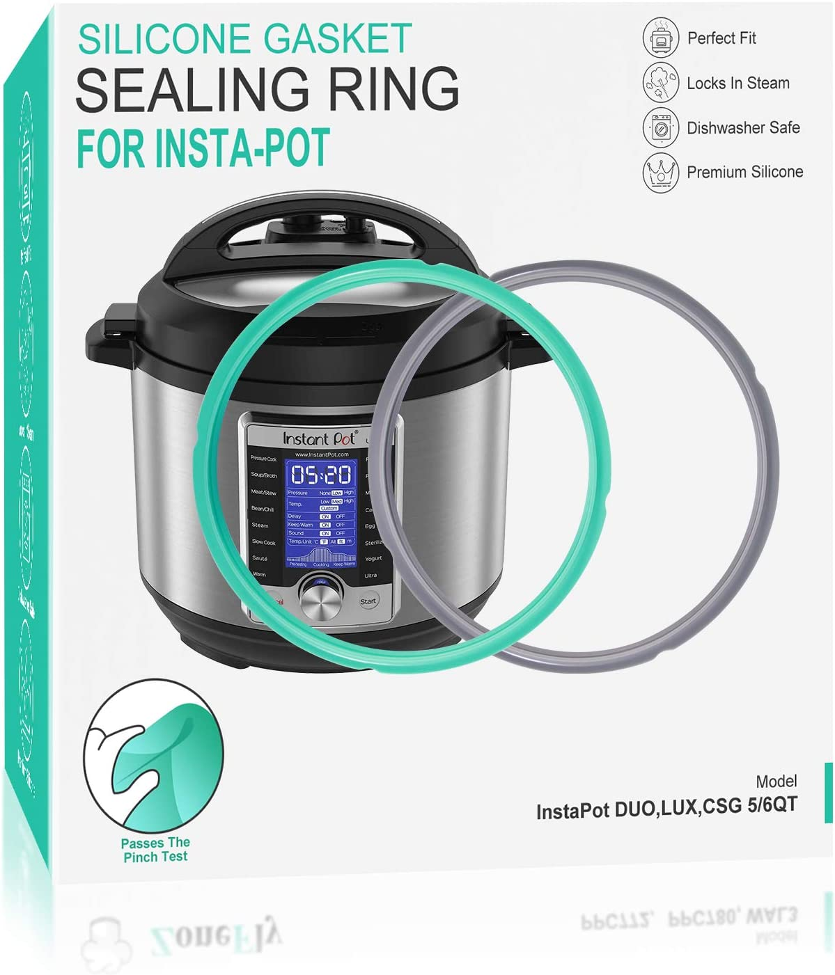 Replacement Ring for Instant Pot 6 Qt - 100% Silicone Gasket Seal Ring for Insta Pot 6 Qt DUO ULTRA LUX Pressure Cooker Ring Support Pinch Test Premium Material - 3 Pack