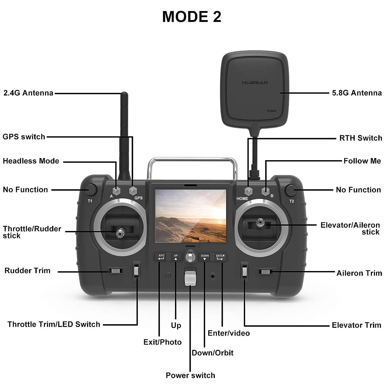 Hubsan H501S X4 Brushless Drone GPS 1080P HD C/ámara 5.8Ghz FPV 2.4Ghz RC Cuadric/óptero con H906A Transmisor Blanco Pro Versi/ón