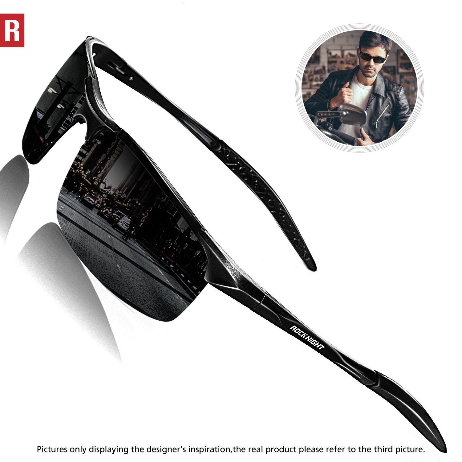 528eadc001 Amazon.com  ROCKNIGHT Driving Polarized Sunglasses for Men UV Protection HD  Glasses Ultra Lightweight Al-Mg Metal Outdoor Golf Fishing Sports Sunglasses  ...