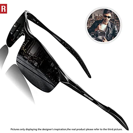 65cc88d294 ROCKNIGHT Driving Polarized Sunglasses for Men UV Protection HD Glasses  Ultra Lightweight Al-Mg Metal