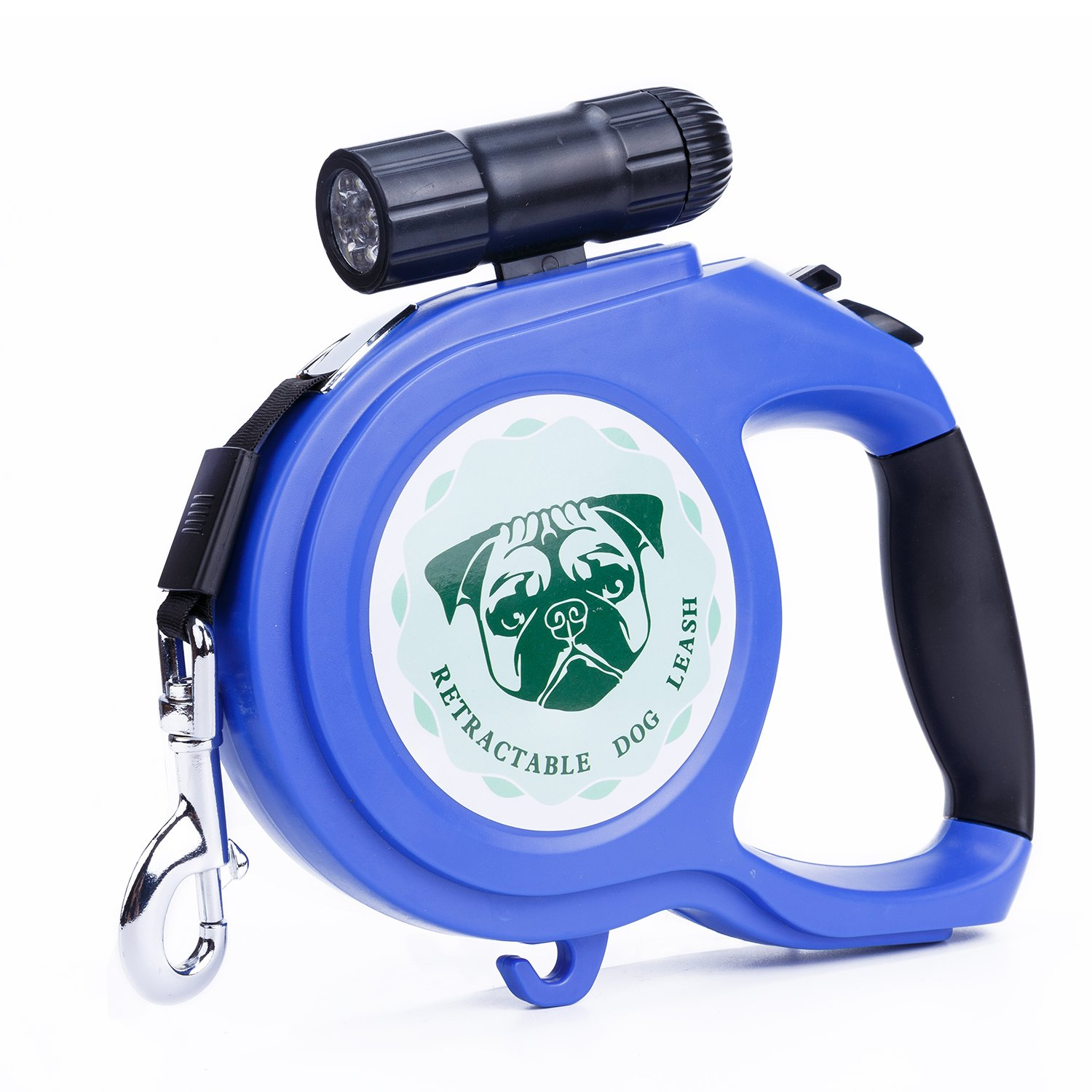 Retractable Dog Leash, 26ft Pet Walking Leash with 9 LED Detachable Flashlight for Medium Large Dog up to 100lbs, with Hand Grip One Button Brake & Lock and Hook(bluee)