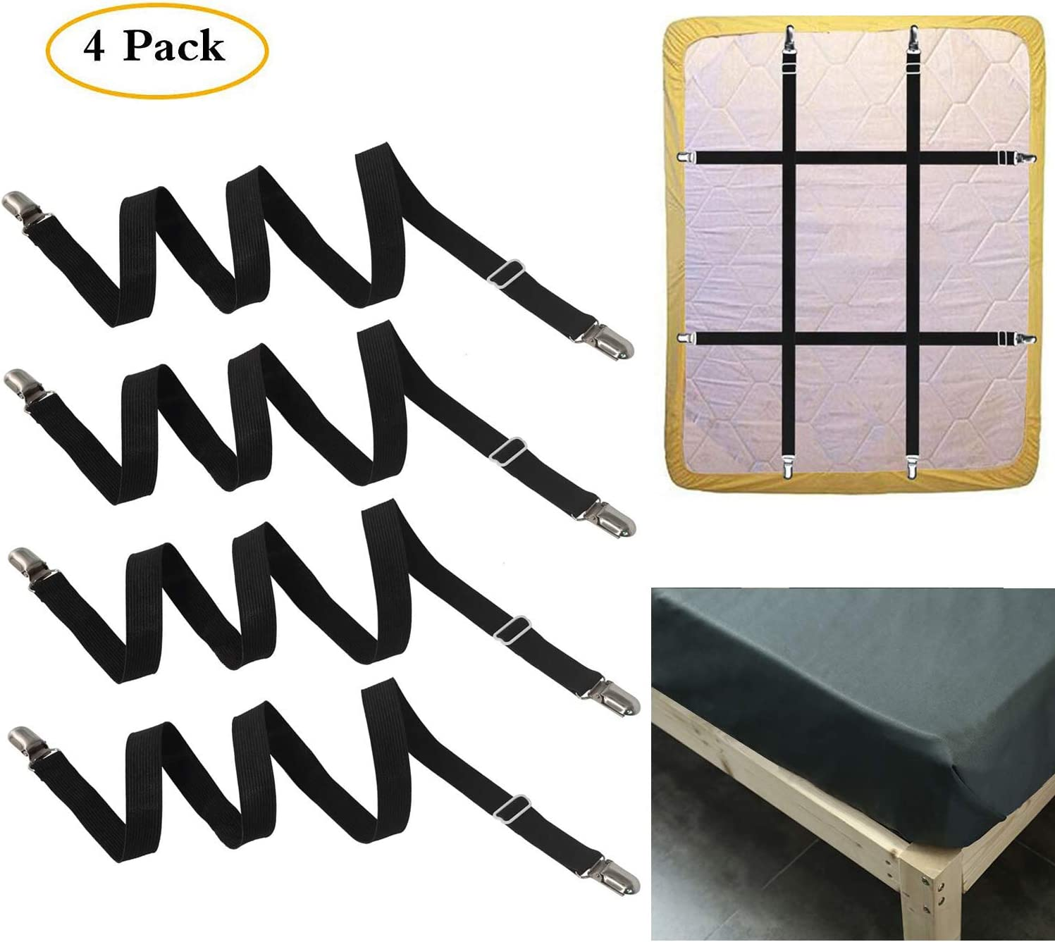 FLSLHS - Clips para sábanas de cama, tirantes, correas de sujeción, apto para todos los colchones cuadrados (4 paquetes/juego)