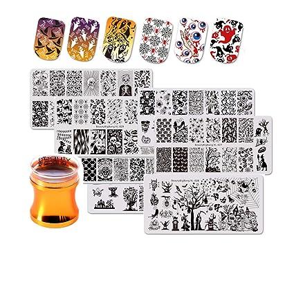 BEAUTYBIGBANG - Juego de 7 plantillas para decoración de uñas de ...