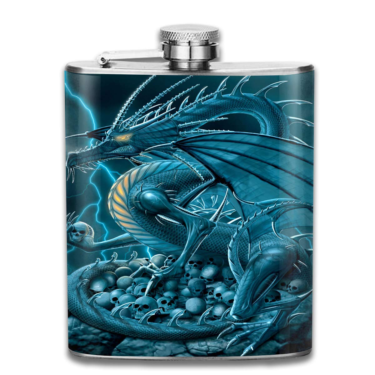 Stainless Steel Flask Fantasy Lightning Dragon Wine Pot Whiskey Container Flask Pocket for Unisex