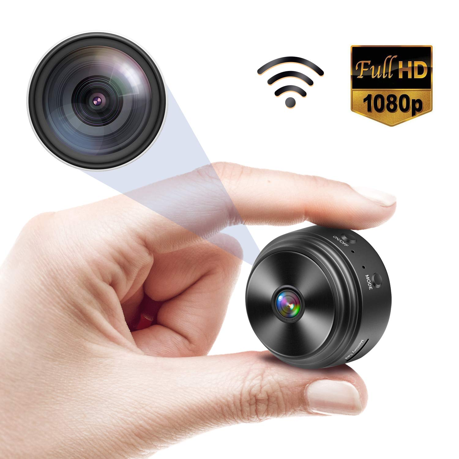 Spy Camera WiFi Wireless Hidden Camera, Small Security Camera, Nanny Cameras and Hidden Cameras for Home, Car, Office, with 150 Wide Angle HD 1080P Night Vision Motion Detection