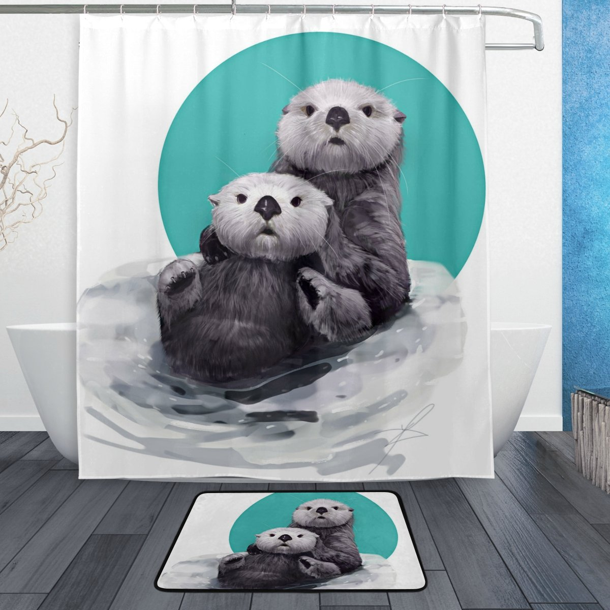 ALAZA Set Of 2 Funny Animal Otter 60 X 72 Inches Shower Curtain And Mat Cute Watercolor Waterproof Fabric Bathroom Rug With Hooks