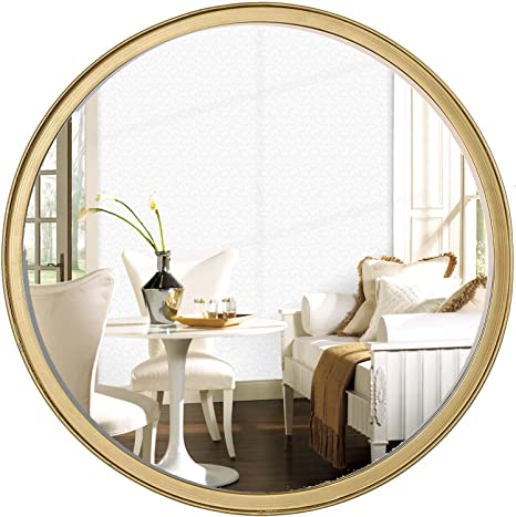 Round Gold Wall Mirror 18 Inch For Bathroom Entry Dining Room Living Room Wall Decor Large Kitchen Dining