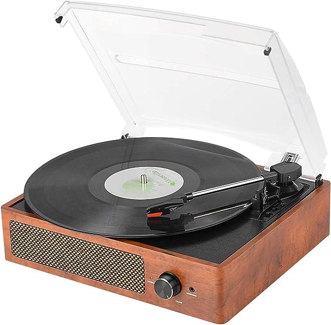 prise 3,5 mm 33//45//78 RPM 3 vitesses rose platine vinyle portable platine vinyle Bluetooth5.0 avec haut-parleurs st/ér/éo Tourne-disque vinyle prise en charge des disques vinyles 7//10//12 pouces