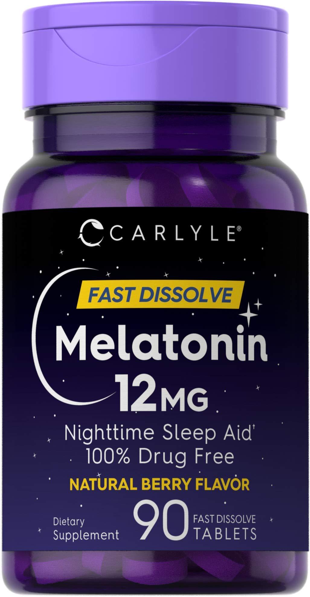 Carlyle Melatonin 12 mg Fast Dissolve 90 Tablets | Nighttime Sleep Aid | Natural Berry Flavor | Vegetarian, Non-GMO, Gluten Free