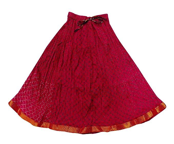 PEEGLI Falda Elegante India Algodón Estampado Patinador Cintura ...