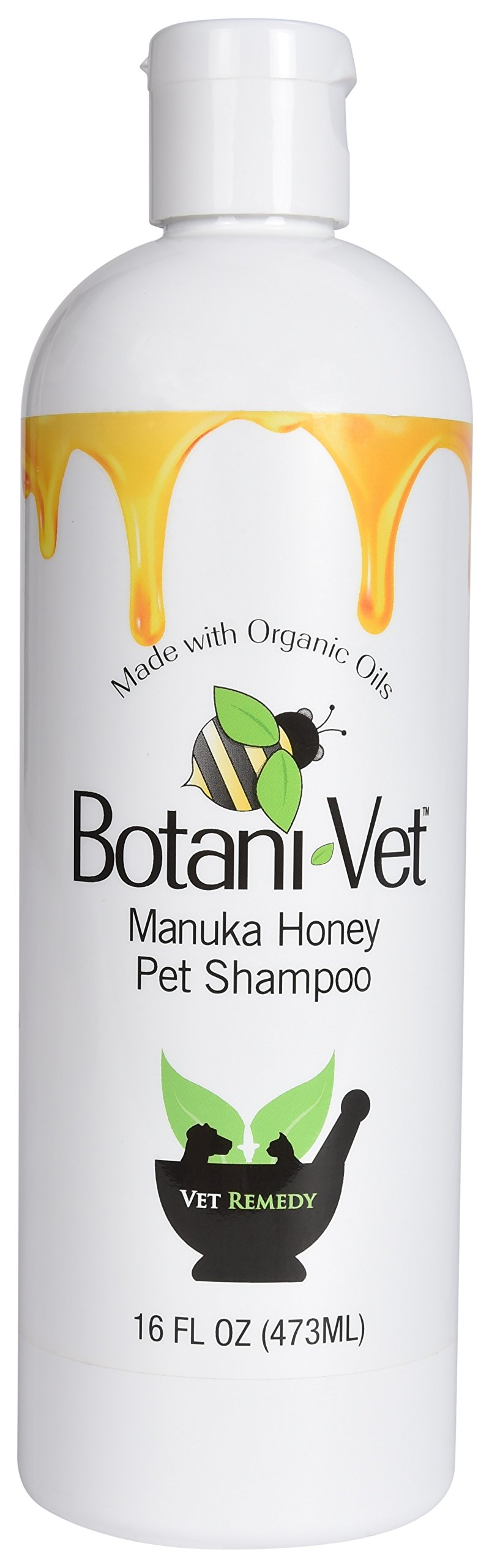 BotaniVet Certified Organic Manuka Honey Pet Shampoo 16 Oz - 100% Natural Ingredients - Veterinary Dermatologist Formulated for Allergies and Itching by BotaniVet