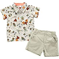 BOIZONTY Toddler Boy Pineapple Outfits Gentleman Bowtie Button-Down Shirt Top + White Shorts Pants Kids Summer Clothes Set