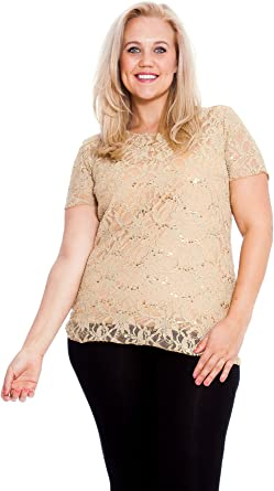 Womens New Flower Flared Sleeveless Sequin Tunic Top Nouvelle Ladies Plus Size