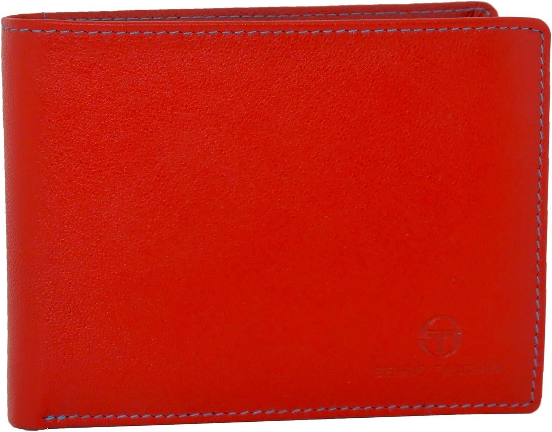 Sergio Tacchini, cartera de cuero genuino para hombres, resistente, con monedero con clip, delgado, tarjetero, interior multicolor
