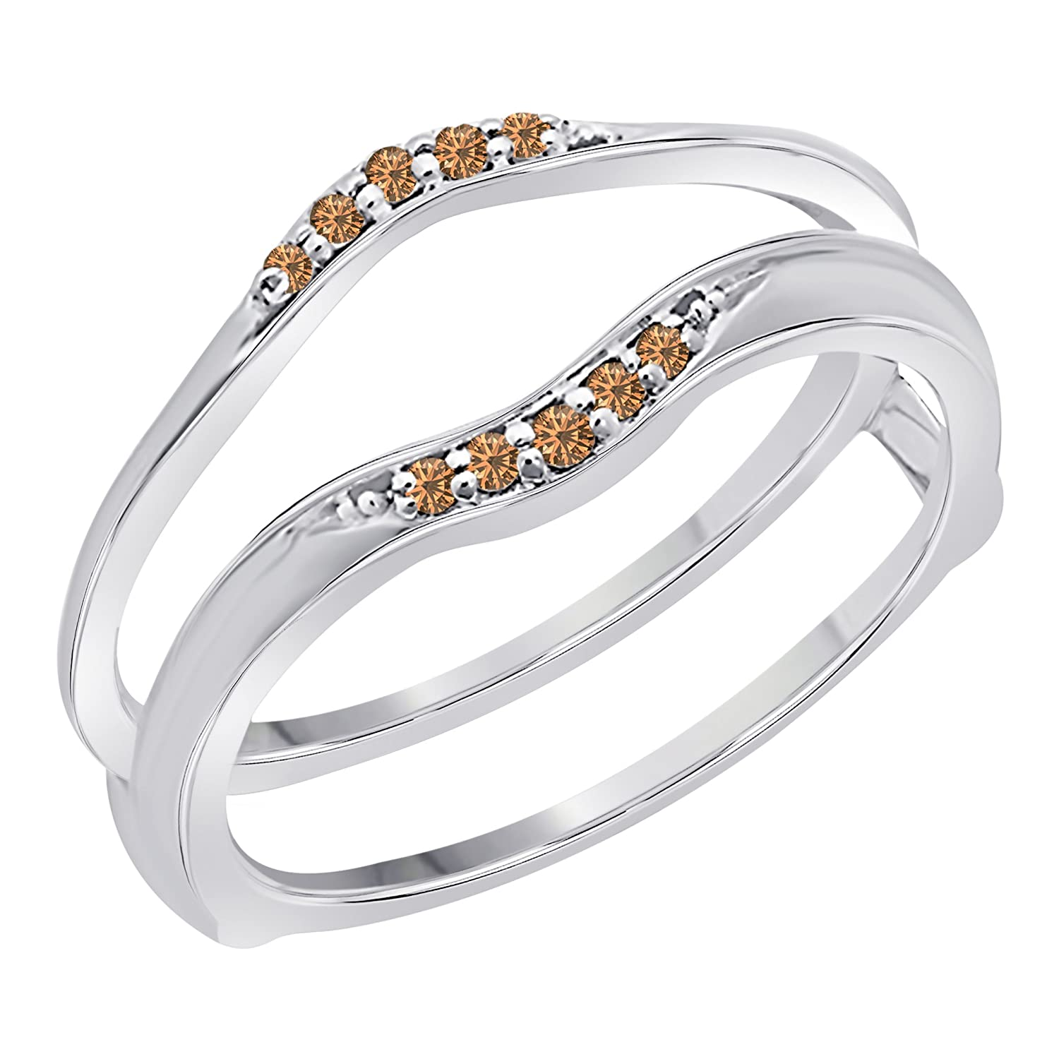 Amazon Sterling Silver Plated Delicate Bination Curved Style Vintage Wedding Ring Guard Enhancer Cz Smoky Quartz 16 Ct Tw Jewelry: Delicate Vintage Wedding Rings At Websimilar.org